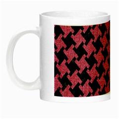Houndstooth2 Black Marble & Pink Denim Night Luminous Mugs by trendistuff