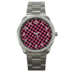 Houndstooth2 Black Marble & Pink Denim Sport Metal Watch by trendistuff