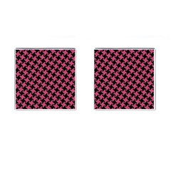 Houndstooth2 Black Marble & Pink Denim Cufflinks (square) by trendistuff