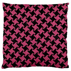 Houndstooth2 Black Marble & Pink Denim Large Cushion Case (two Sides) by trendistuff