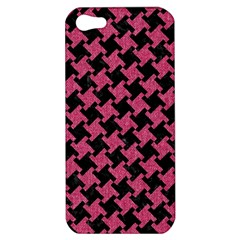 Houndstooth2 Black Marble & Pink Denim Apple Iphone 5 Hardshell Case by trendistuff