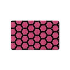 Hexagon2 Black Marble & Pink Denim Magnet (name Card) by trendistuff