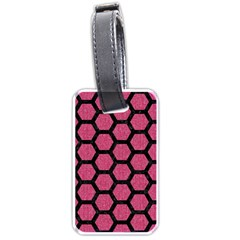 Hexagon2 Black Marble & Pink Denim Luggage Tags (one Side)  by trendistuff