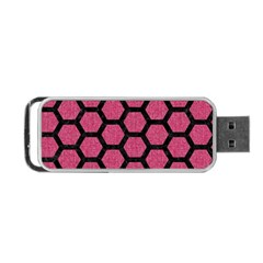 Hexagon2 Black Marble & Pink Denim Portable Usb Flash (two Sides) by trendistuff