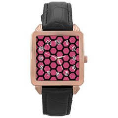 Hexagon2 Black Marble & Pink Denim Rose Gold Leather Watch  by trendistuff