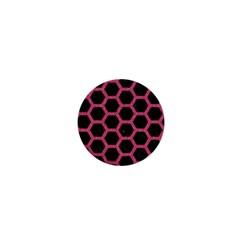 Hexagon2 Black Marble & Pink Denim (r) 1  Mini Buttons by trendistuff