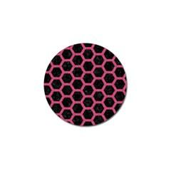 Hexagon2 Black Marble & Pink Denim (r) Golf Ball Marker by trendistuff