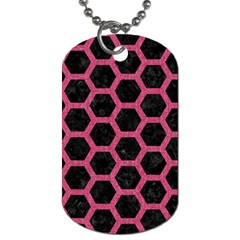 Hexagon2 Black Marble & Pink Denim (r) Dog Tag (two Sides) by trendistuff