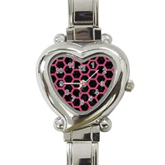 Hexagon2 Black Marble & Pink Denim (r) Heart Italian Charm Watch by trendistuff