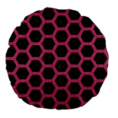 Hexagon2 Black Marble & Pink Denim (r) Large 18  Premium Flano Round Cushions by trendistuff