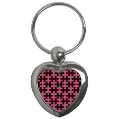 Puzzle1 Black Marble & Pink Denim Key Chains (heart)  by trendistuff