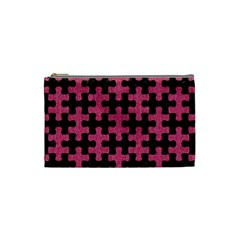 Puzzle1 Black Marble & Pink Denim Cosmetic Bag (small)  by trendistuff