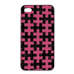 Puzzle1 Black Marble & Pink Denim Apple Iphone 4/4s Seamless Case (black) by trendistuff