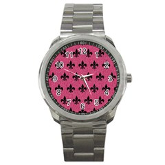 Royal1 Black Marble & Pink Denim (r) Sport Metal Watch by trendistuff