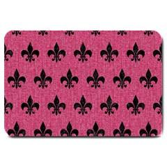 Royal1 Black Marble & Pink Denim (r) Large Doormat  by trendistuff