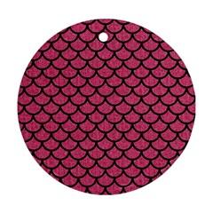 Scales1 Black Marble & Pink Denim Ornament (round) by trendistuff