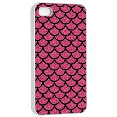 Scales1 Black Marble & Pink Denim Apple Iphone 4/4s Seamless Case (white) by trendistuff