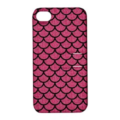 Scales1 Black Marble & Pink Denim Apple Iphone 4/4s Hardshell Case With Stand by trendistuff