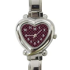 Scales2 Black Marble & Pink Denim (r) Heart Italian Charm Watch by trendistuff