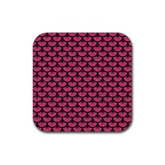 Scales3 Black Marble & Pink Denim Rubber Square Coaster (4 Pack)  by trendistuff