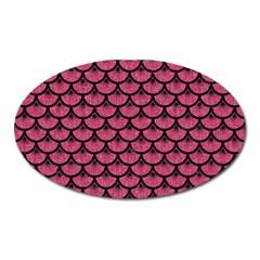 Scales3 Black Marble & Pink Denim Oval Magnet by trendistuff