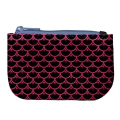 Scales3 Black Marble & Pink Denim (r) Large Coin Purse by trendistuff