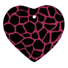 Skin1 Black Marble & Pink Denim Heart Ornament (two Sides) by trendistuff