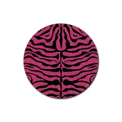 Skin2 Black Marble & Pink Denim Rubber Coaster (round)  by trendistuff