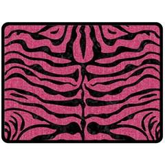 Skin2 Black Marble & Pink Denim Fleece Blanket (large)  by trendistuff