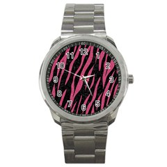 Skin3 Black Marble & Pink Denim (r) Sport Metal Watch by trendistuff