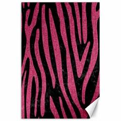 Skin4 Black Marble & Pink Denim Canvas 24  X 36  by trendistuff