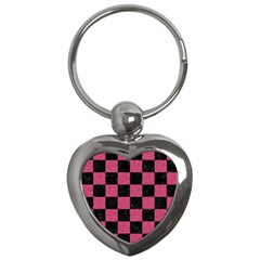 Square1 Black Marble & Pink Denim Key Chains (heart)  by trendistuff