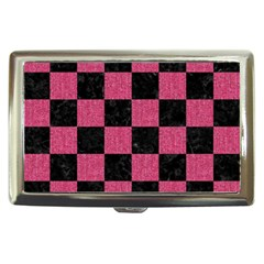 Square1 Black Marble & Pink Denim Cigarette Money Cases by trendistuff