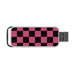 Square1 Black Marble & Pink Denim Portable Usb Flash (one Side) by trendistuff