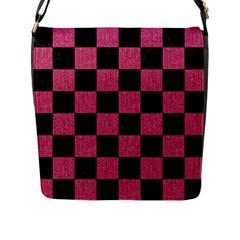 Square1 Black Marble & Pink Denim Flap Messenger Bag (l)  by trendistuff