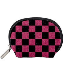 Square1 Black Marble & Pink Denim Accessory Pouches (small)  by trendistuff