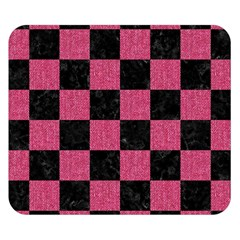 Square1 Black Marble & Pink Denim Double Sided Flano Blanket (small)  by trendistuff