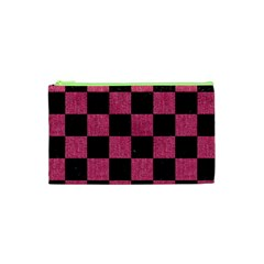 Square1 Black Marble & Pink Denim Cosmetic Bag (xs) by trendistuff