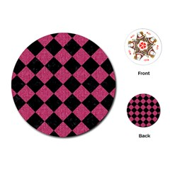 Square2 Black Marble & Pink Denim Playing Cards (round)  by trendistuff