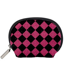 Square2 Black Marble & Pink Denim Accessory Pouches (small)  by trendistuff