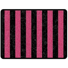 Stripes1 Black Marble & Pink Denim Fleece Blanket (large)  by trendistuff