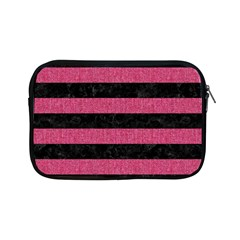 Stripes2 Black Marble & Pink Denim Apple Ipad Mini Zipper Cases by trendistuff