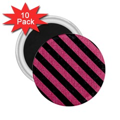 Stripes3 Black Marble & Pink Denim 2 25  Magnets (10 Pack)  by trendistuff