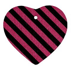 Stripes3 Black Marble & Pink Denim Heart Ornament (two Sides) by trendistuff