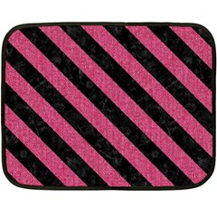 Stripes3 Black Marble & Pink Denim Fleece Blanket (mini) by trendistuff