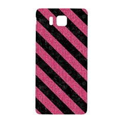 Stripes3 Black Marble & Pink Denim Samsung Galaxy Alpha Hardshell Back Case by trendistuff