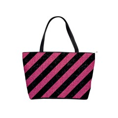Stripes3 Black Marble & Pink Denim (r) Shoulder Handbags by trendistuff