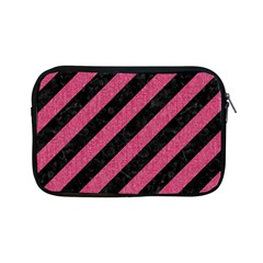 Stripes3 Black Marble & Pink Denim (r) Apple Ipad Mini Zipper Cases by trendistuff