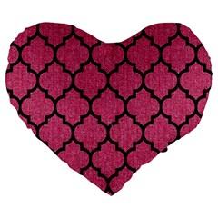 Tile1 Black Marble & Pink Denim Large 19  Premium Heart Shape Cushions by trendistuff
