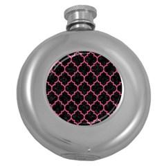 Tile1 Black Marble & Pink Denim (r) Round Hip Flask (5 Oz) by trendistuff